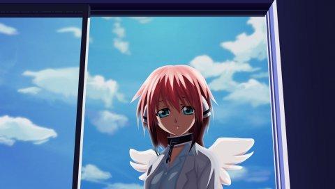 Девушка, ангел, крылья, окна, небо, облака, чистота, грусть, цепь