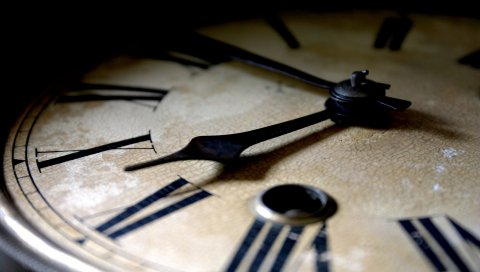 Часы, руки, циферблат, черный, белый, старый