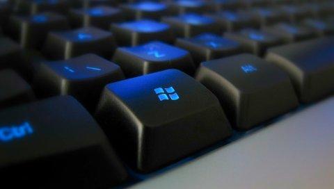 Клавиатура, черный, синий, с подсветкой