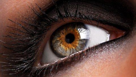 Глаз, зрачок, черный, ресницы, девушка