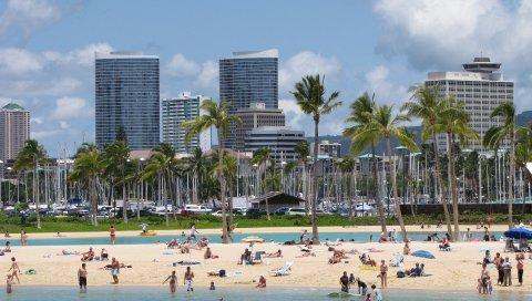 Пляж, город, песок, пальмы, люди, побережье, отдых