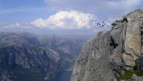 Прыжок, парашютист, крайность, падение, поломка