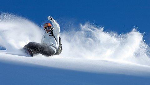 Сноуборд, спуск, крайность, снег, баланс