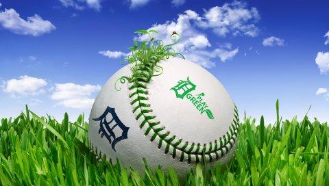 Мяч, трава, лужайка, облака