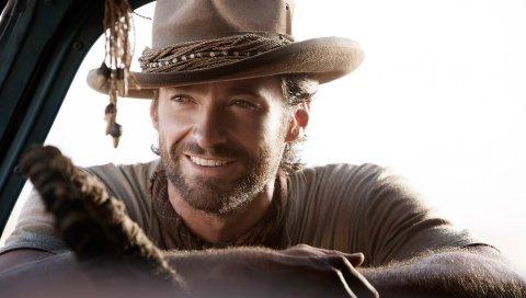 Hugh jackman, шляпа, улыбка, милый, мужчина, щетина