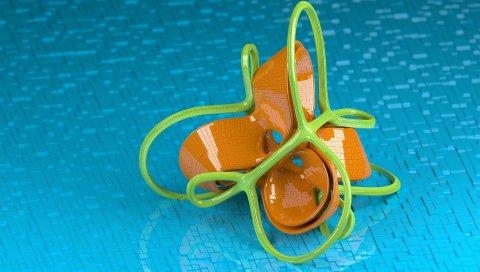 Форма, форма, оранжевый, зеленый, спираль, цветок