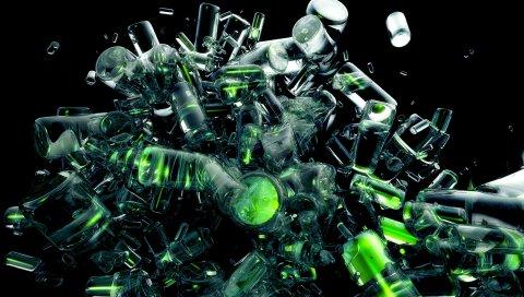Бутылки, стекло, мусор, взрыв, динамика