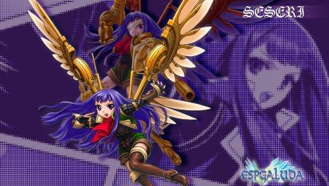 Seseri, аниме, девушка, синие волосы, полет, атака, крылья