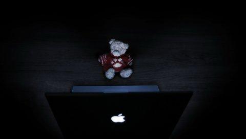 Яблоко, макро, черный, плюшевый мишка, компьютер