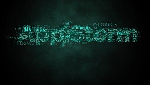 Приложение буря, яблоко, Mac, письмо, надпись, зеленый