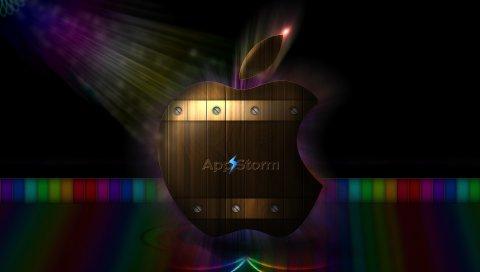 Приложение буря, яблоко, макро, красочные, полосы, деревянные