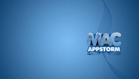 Приложение буря, яблоко, макро, надпись, синий