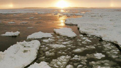 Лед, река, канада, холод, зима, солнце, вечер, спад