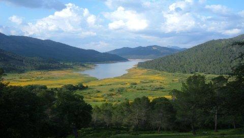 Горы, река, долина, деревья, зелень, небо