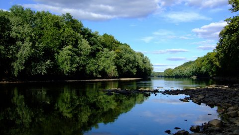 Камни, река, деревья, берег, лето, облака
