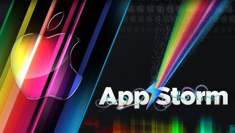 Приложение буря, яблоко, макро, красочный, радуга