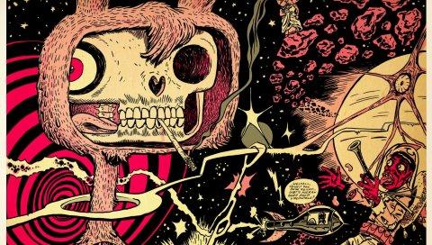 Кролик, череп, внутренности, пространство, корабль, мексиканский, астероиды, звезда, солнце