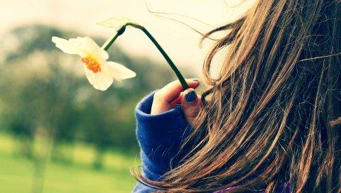 Девушка, цветок, рука, пальцы, ребенок