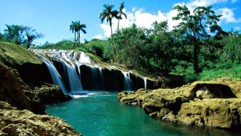 Падения, камни, пальмы, вода, деревья