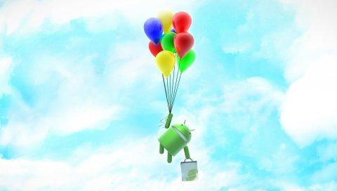 Андроид, система, робот, облака, небо, воздушные шары