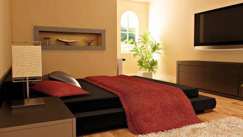 Комната, кровать, кожа