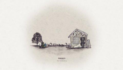 Fwa, дом, природа, черный белый, фотография