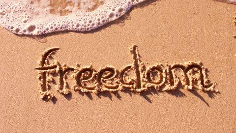 Песок, надпись, свобода, пляж, пена, вода