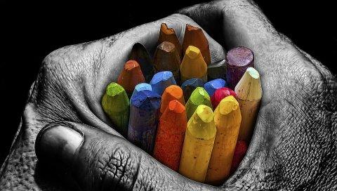 Мел, цветные карандаши, цветные, красочные, руки, ладони
