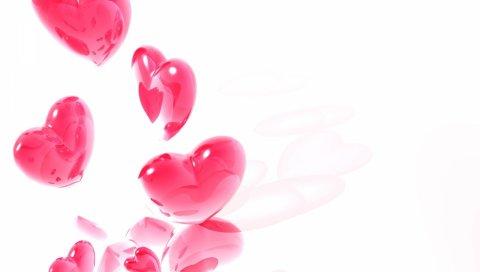 Сердце, розовый, белый, полет