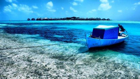 Лодка, залив, берег, голубая вода, веревка