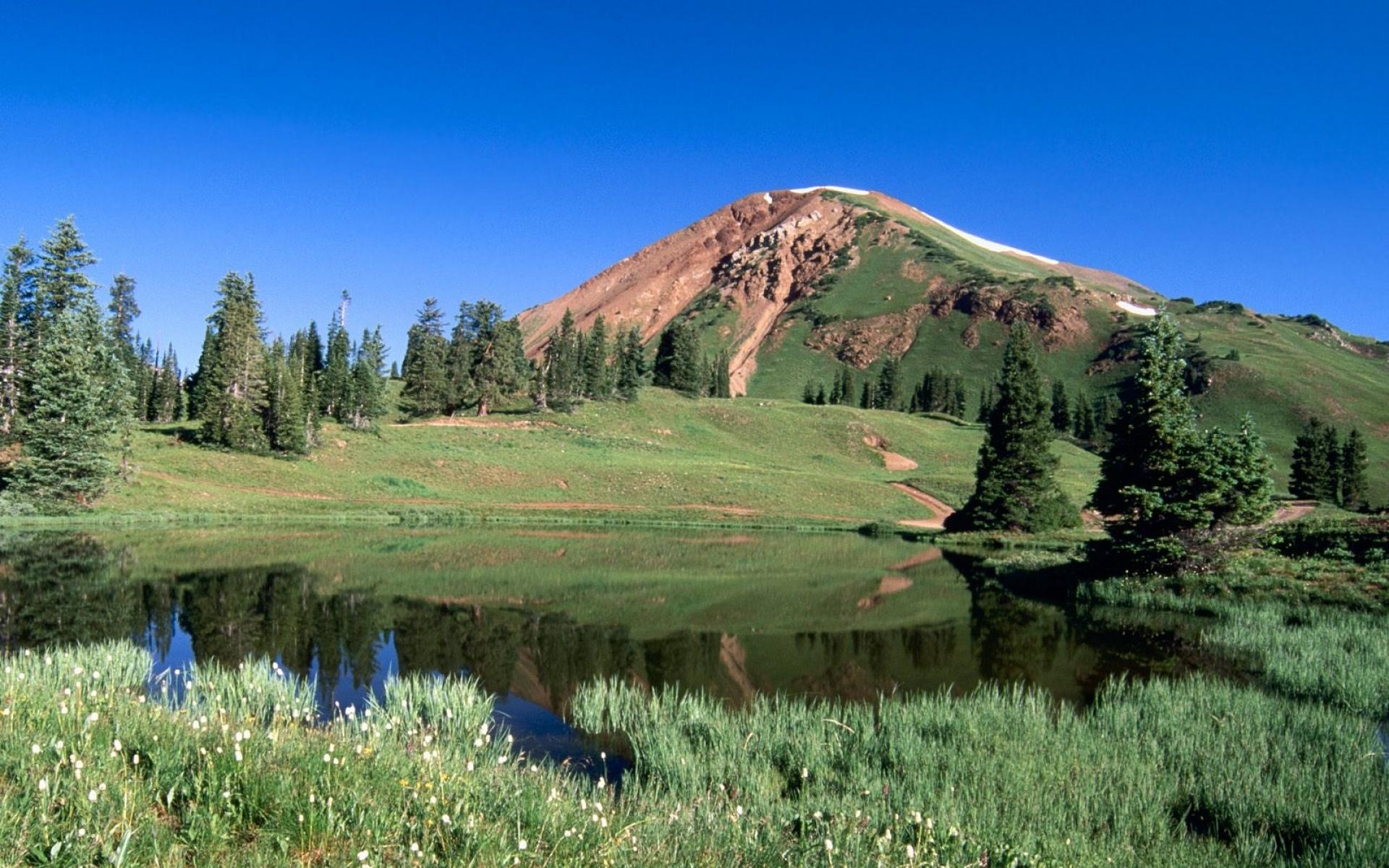 Картинки Озеро, горы, альпы, зелень, трава, колорадо, деревья фото и обои на рабочий стол