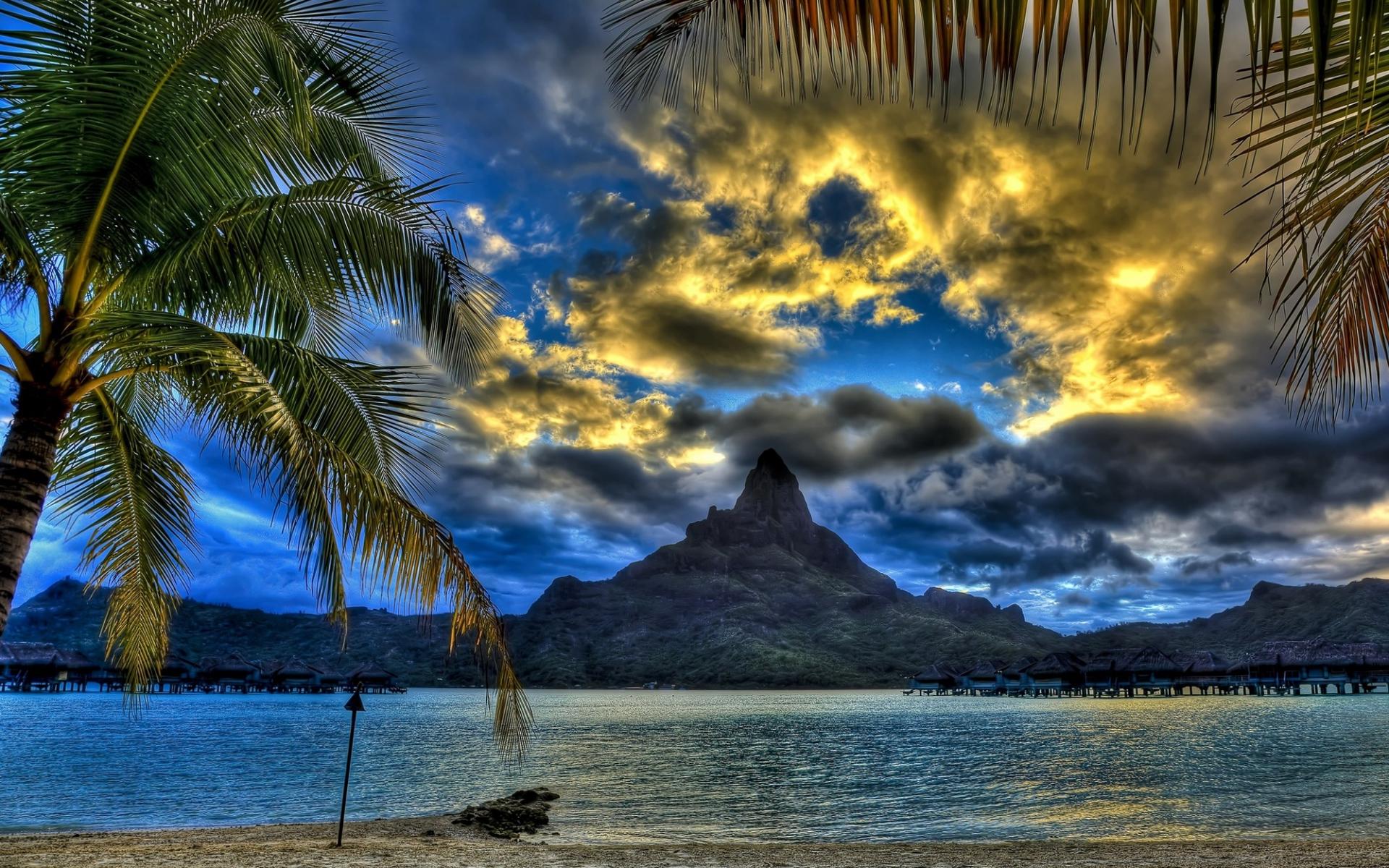 Картинки Пляж, море, горы, вершина, облака, пальмы, песок, ветки фото и обои на рабочий стол
