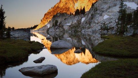 Горы, камни, вода, тени, скалы, побережье