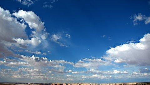 Небо, облака, синий, белый, каньоны, горы