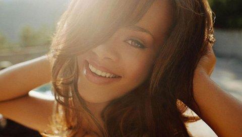 Рианна, девушка, лицо, улыбка, солнечный свет