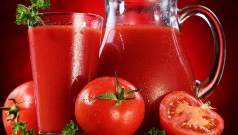 Сок, помидоры, стекло, графин, капли, зелень, красный, напиток