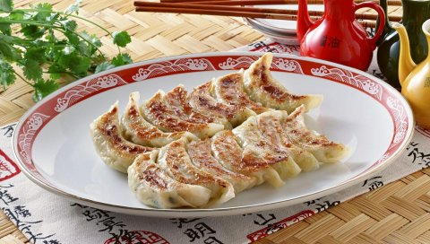Китайская кухня, пельмени, горячие, тарелки, палочки