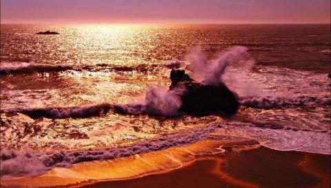 Море, волны, камень, брызги, вечер, песок