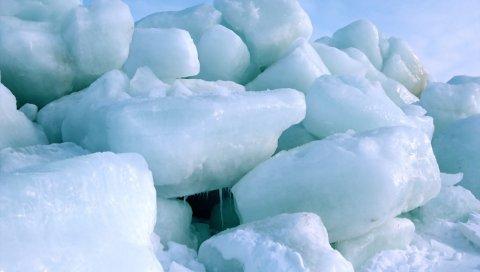 Лед, блоки, северный полюс, холод