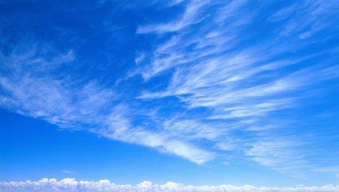 Небо, синий, белый, облака, нежность