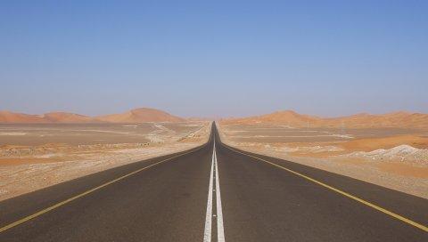 Пустыня, дорога, маркировка