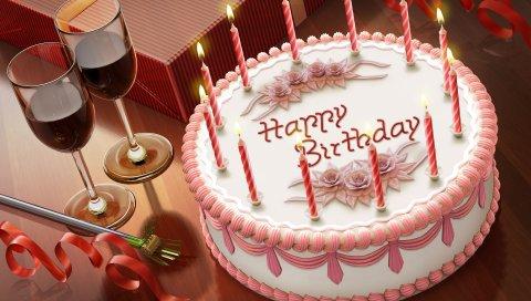 Пирог, свечи, день рождения, вино, бокалы, лента