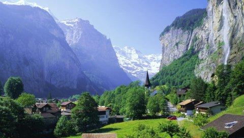 Поселение, горы, лето, зелень, дома