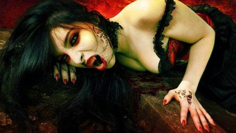 Вампир, зубы, девушка, брюнетка