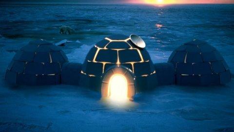 Иглу, жилище, свет, ночь, северный полюс