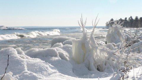 Зима, снег, океан, побережье, лед, волны