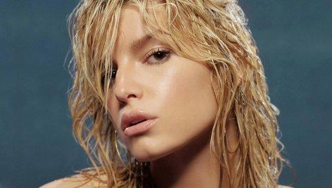 Джессика Симпсон, девушка, блондинка, лицо, губы