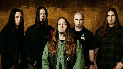 Devildriver, группа, рокеры, волосы, стена