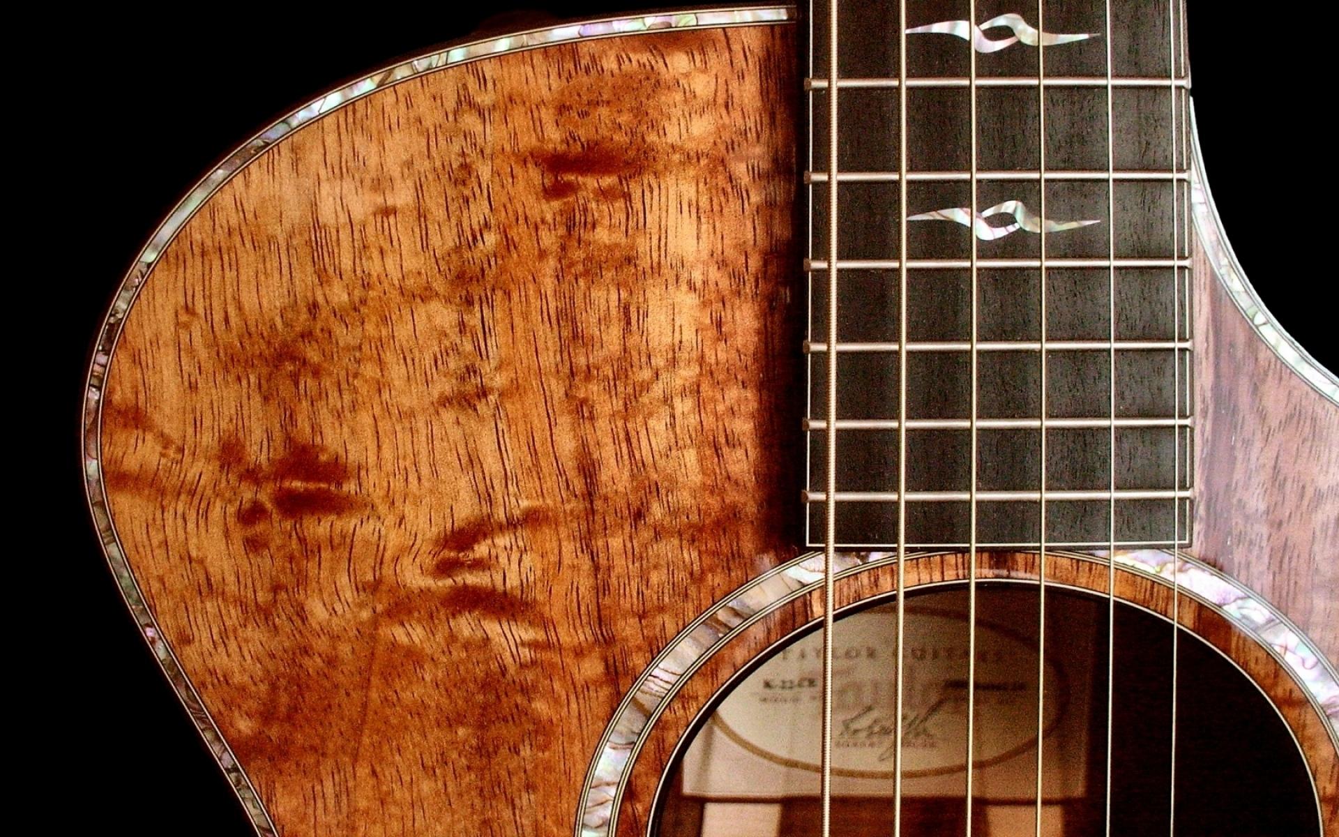 Картинки Гитара, дерево, струны, фон, свет фото и обои на рабочий стол