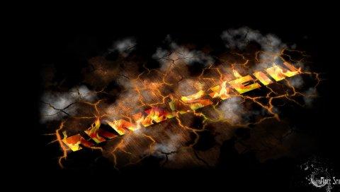Rammstein, имя, графика, огонь, трещины